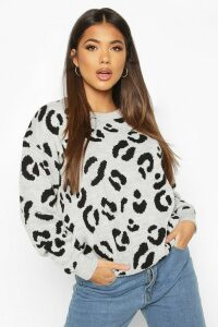 Womens Leopard Knitted Jumper - Grey - L, Grey