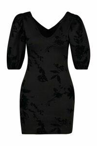 Womens Petite Glitter Flock Floral Puff Sleeve Mini Dress - black - 14, Black