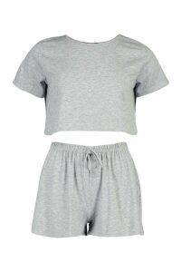 Womens Soft Tee & Short Pyjama Set - grey - 12, Grey