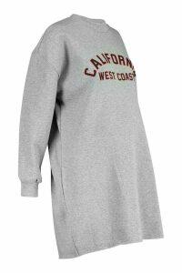 Womens Plus California Oversized Sweat Dress - grey - 18, Grey