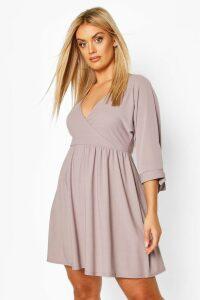 Womens Plus Tie Sleeve Wrap Smock Dress - grey - 26, Grey