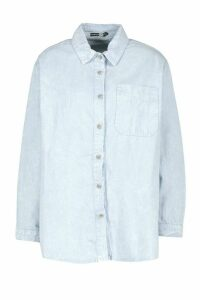 Womens Oversize Acid Wash Rigid Denim Shirt - blue - 16, Blue