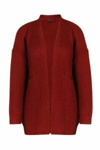 Womens Plus Oversized Boyfriend Cardigan - red - 24-26, Red