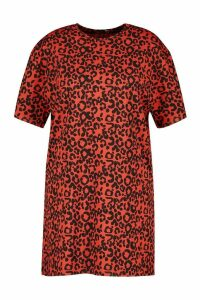 Womens Plus Rib Animal Print T-Shirt Dress - Orange - 26, Orange