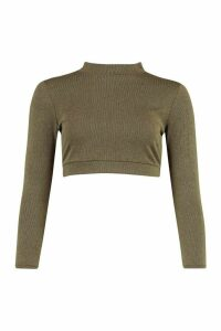 Womens Petite Contrast Rib Long Sleeve Crop Top - Green - 14, Green
