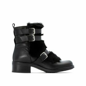 Triple Buckle Leather Ankle Boots