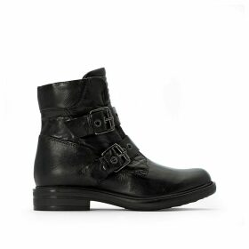 Buckled Leather Ankle Boots with Buckle