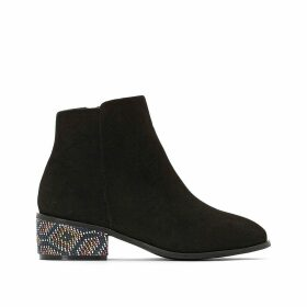 Wide Fit Chelsea Ankle Boots with Beaded Heel