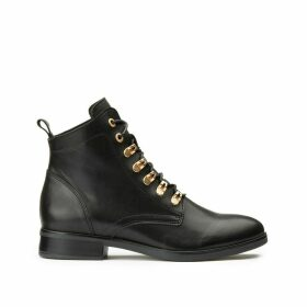 Leather Lace-Up Ankle Boots with Metallic Eyelets