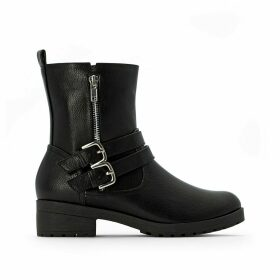 Wide Fit Biker Boots with Straps on Front