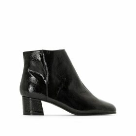 Medium Heel Patent Ankle Boots
