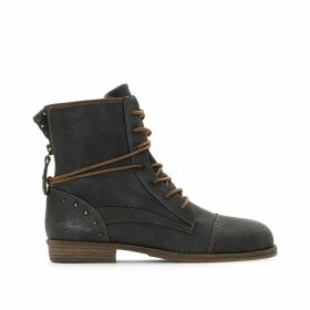 Criss-Cross Strap Ankle Boots with Laces