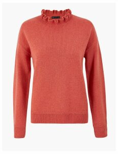 M&S Collection Ruffle High Neck Jumper