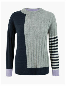 M&S Collection Colour Block Mixed Stitch Jumper