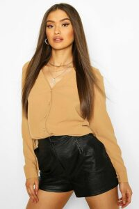 Womens V Neck Blouse - Beige - 14, Beige
