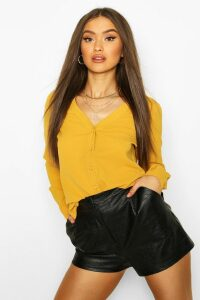 Womens V Neck Blouse - yellow - 14, Yellow