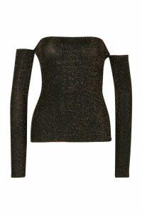 Womens Long Sleeve Bardot Glitter Top - Metallics - 10, Metallics