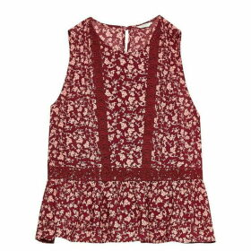 Jack Wills Lackenby Lace Insert Top - Damson