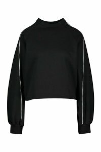 Womens Piping Detail Sweatshirt - black - 14, Black