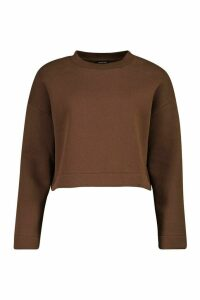 Womens Zip Split Side Crop Sweatshirt - brown - 14, Brown