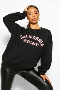 Womens California Slogan Oversized Sweatshirt - black - M, Black