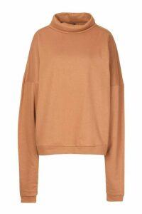 Womens Premium Extreme Oversized Print Funnel Neck Sweatshirt - beige - M, Beige