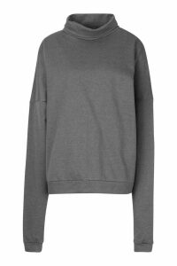 Womens Premium Extreme Oversized Print Funnel Neck Sweatshirt - Grey - M, Grey