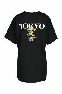 Womens Tokyo Graphic Back Print T-Shirt - black - M, Black
