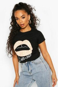 Womens Petite Leopard Lips Slogan T-Shirt - black - L, Black