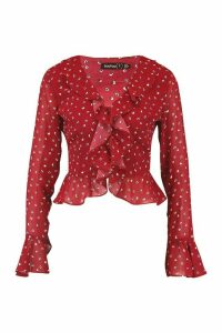 Womens Petite Ditsy Spot Ruffle Blouse - red - 14, Red