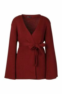 Womens Petite Kimono Sleeve Belted Cardigan - red - XS, Red