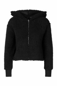 Womens Petite Teddy Cropped Hoody - black - 14, Black