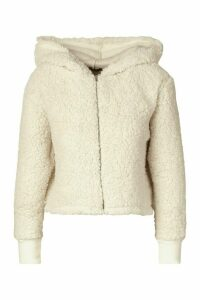 Womens Petite Teddy Cropped Hoody - white - 14, White