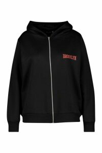 Womens Plus Brooklyn Slogan Zip Up Hoodie - Black - 24, Black