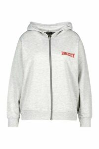 Womens Plus Brooklyn Slogan Zip Up Hoodie - grey - 16, Grey