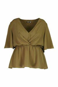 Womens Plus Angel Sleeve Peplum Blouse - Green - 24, Green