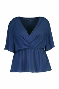 Womens Plus Angel Sleeve Peplum Blouse - navy - 24, Navy