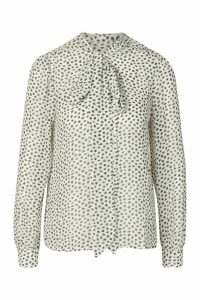 Womens Petite Printed Pussy Bow Blouse - White - 14, White