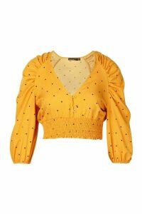 Womens Petite Woven Mini Polka Dot Button Through Blouse - yellow - 10, Yellow