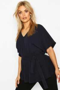 Womens Plus V-Neck Belted Peplum Top - Navy - 20, Navy