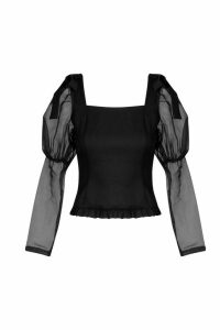 Womens Petite Volume Sleeve Bow Detail Blouse - Black - 12, Black