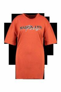 Womens Plus Slogan T-Shirt Dress - orange - 24, Orange