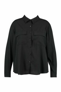Womens Plus Utility Pocket Button Through Shirt - Black - 20, Black
