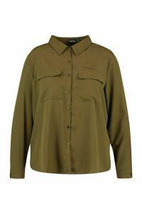 Womens Plus Utility Pocket Button Through Shirt - Green - 18, Green