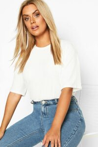 Womens Plus Soft Rib Oversized T-Shirt - White - 26, White
