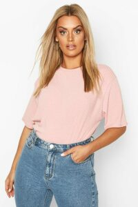 Womens Plus Soft Rib Oversized T-Shirt - Pink - 26, Pink