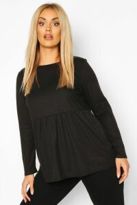 Womens Plus Super Soft Rib Longsleeve Smock Top - Black - 20, Black