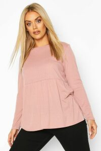 Womens Plus Super Soft Rib Longsleeve Smock Top - pink - 16, Pink