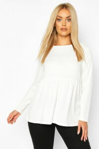 Womens Plus Super Soft Rib Longsleeve Smock Top - white - 26, White