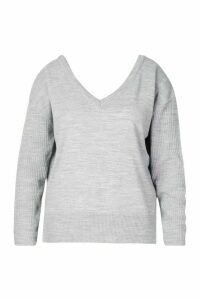 Womens Plus Jumper With V-Neck Detail Front & Back - Grey - 24, Grey